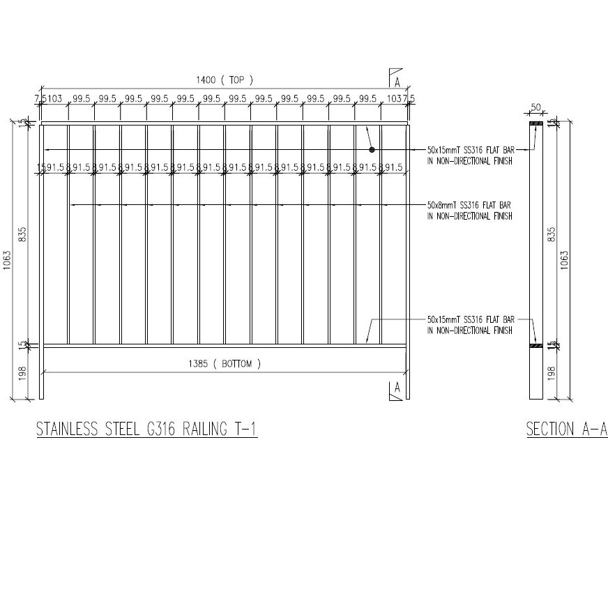 STAINLESS STEEL RAILING T-1