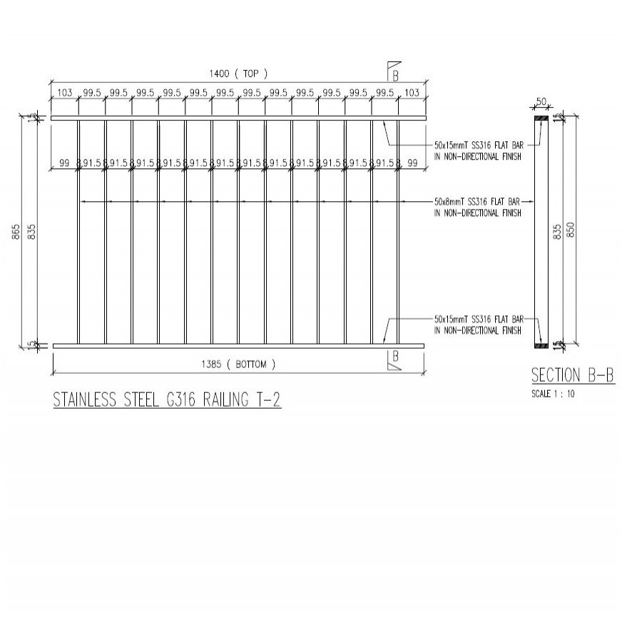 STAINLESS STEEL RAILING T-2